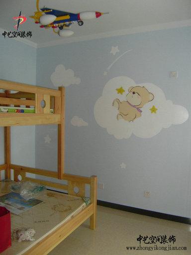 碧溪尊苑4号楼儿童房墙体艺术手绘效果实景照片