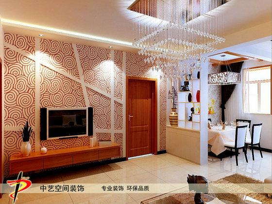 石家庄装修公司--客厅电视墙酒柜装修设计效果图
