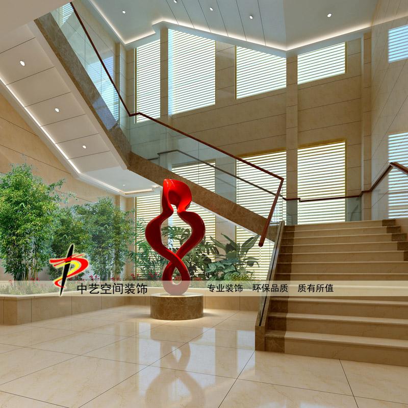 办公楼楼梯间一楼大厅一角装修设计效果