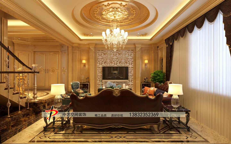 客厅装修天山熙湖客厅造型吊顶电视墙装修效果设计-石家庄中艺空间